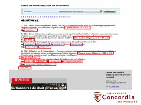 """Exemple des liens issus de l'entrée pour le terme """"obligation"""" du dictionnaire en droit civil du Centre Crépeau"""